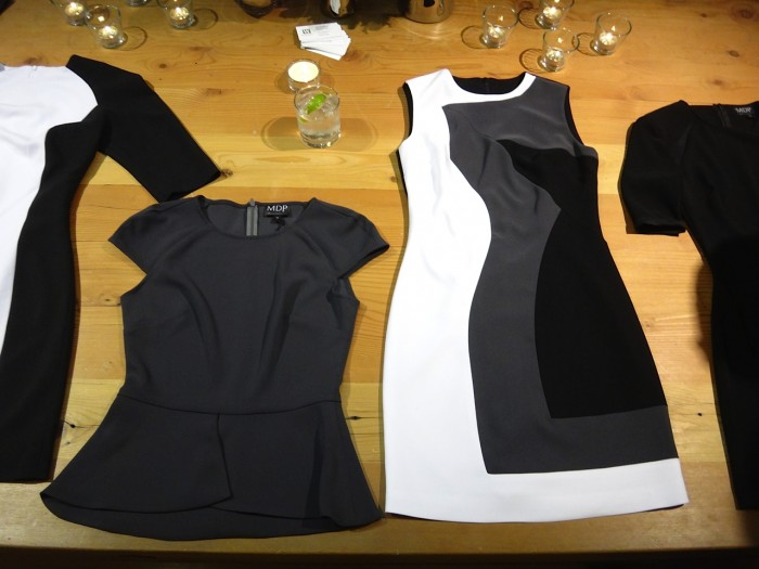 Michael's choice for my look of the night: A black, white and charcoal color blocked dress.