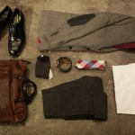 Johnston & Murphy Georgetown II Cap Toe shoe-black, Happy Socks-Kurbits, Ben Sherman Herringbone Blazer-Grey, Scotch & Soda Acid Rock Wool Pants-Grey, Ministry of Supply Appolo Shirt-White, Penguin Big Check Tie, Top Grain Oil Tan Leather belts, Will Leather Bag.