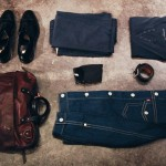 Johnston & Murphy Georgetown II Cap Toe shoe-black, Happy Socks-Kurbits, John Varvatos Eyelet Henley-Navy, GANT Grandpa pants-Navy, LEVIS Double Stitch Denim jacket, Top Grain Oil Tan Leather belt, Will Leather Goods – Gunner Belt and Leather bag.