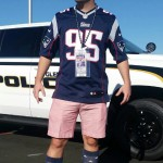 Hats off to this Pats fan! He made cuffed seersucker shorts and his old glory themed socks look masculine. You got a problem with that?
