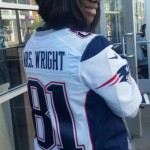 As in tight end Tim Wright - love how her custom jersey combines family love with Pats pride.