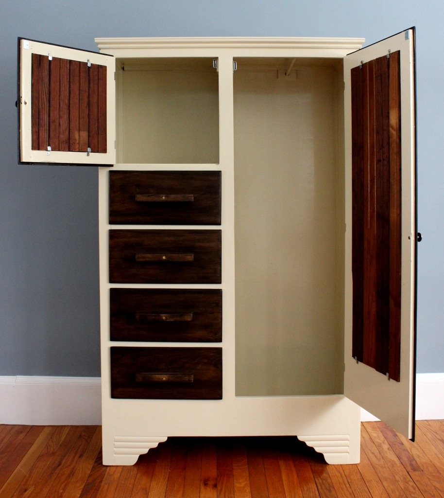 Inside the armoire. The piece is compact and not very deep but perfect for hanging nice shirts. The smaller area is a little more than a foot tall and is great for toiletries.