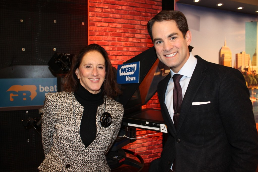 Jared with styleboston managing editor Jan Saragoni at WGBH Studios.
