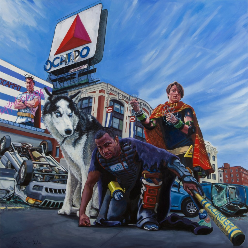 Paul Endres Jr., American (b. 1985) The Surviving Members of the Sullivan Seven, 2014 Oil on panel, 36 x 36 inches