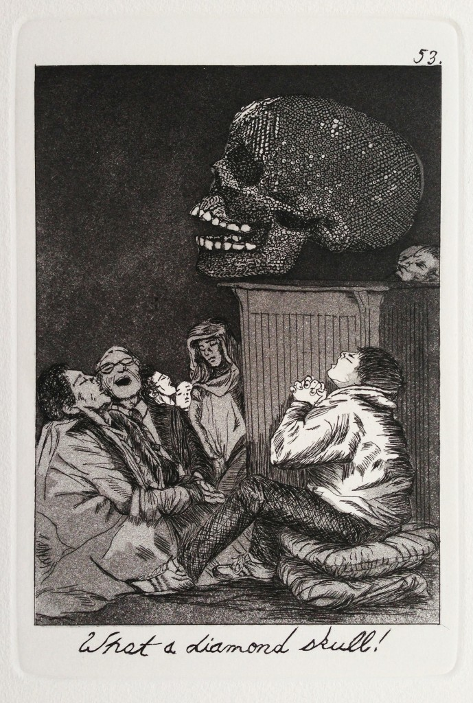 Emily Lombardo, American (b. 1977) What a diamond skull!, from The Caprichos, 2013 Etching and aquatint, 9 x 6 inches