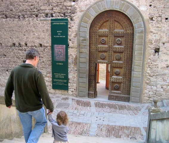Stassa and U.B. touristing in Urbino when she was one-and-a-half.  The other parent is running laps around the inside of this museum!